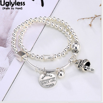 Uglyless 100% Real Solid 925 Sterling Silver Balls Bracelets for Women 2-Layer Elastic Rope Fine Jewelry Charms Lucky Cat Bijoux