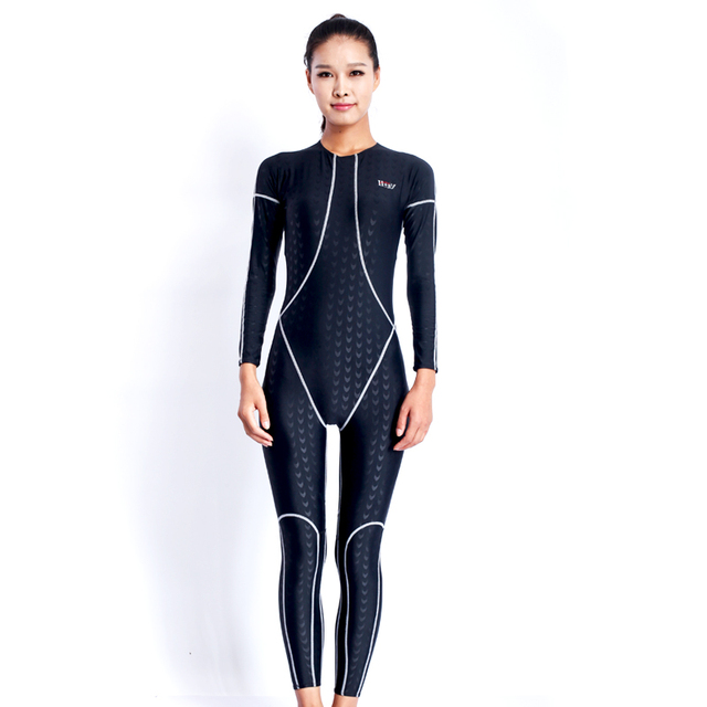 f6051e4e53 Sharkskin Swimwear Women One Piece Swimsuit Long Sleeve Swimming Suit For  Women Men Swim Wear Swimsuits Full Body Swim Suit