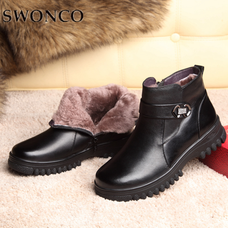SWONCO Winter Boots Ladies Genuine Leather Shear ling Female High quality Size 41 Ankle Boots 2019 Stylish Wedges Anti-slipperySWONCO Winter Boots Ladies Genuine Leather Shear ling Female High quality Size 41 Ankle Boots 2019 Stylish Wedges Anti-slippery