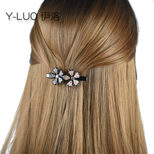 Women head wear fashion flower hair clip cute vintage barrettes rhinestone accessories for women
