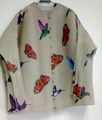 Boutons Style Gratuite Imprimer Petit Veste Chinois Courte Noir Papillon Printemps Livraison Plissée Manteau Cardigan Stock En wqPgxRndA