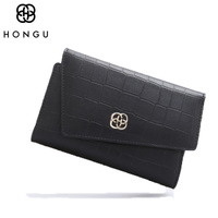HONGU Fashion Clutches Bags Women Wallet Female Long Buckle Wallets Patent Coin Purse Credit Card Package
