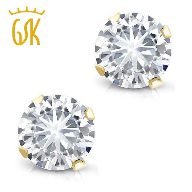 2d450b751 Charles & Colvard Forever Classic 0.60 cttw Round Moissanite 14K Yellow  Gold Stud Earrings For Women