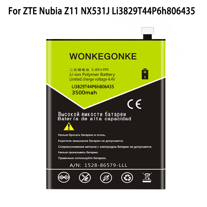 WONKEGONKE For ZTE Nubia Z11 NX531J M2 lite Li3829T44P6h806435 Batteries battery
