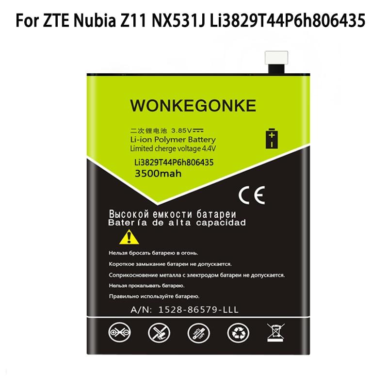 WONKEGONKE pour ZTE Nubia Z11 NX531J M2 lite Li3829T44P6h806435 batterie de Batteries