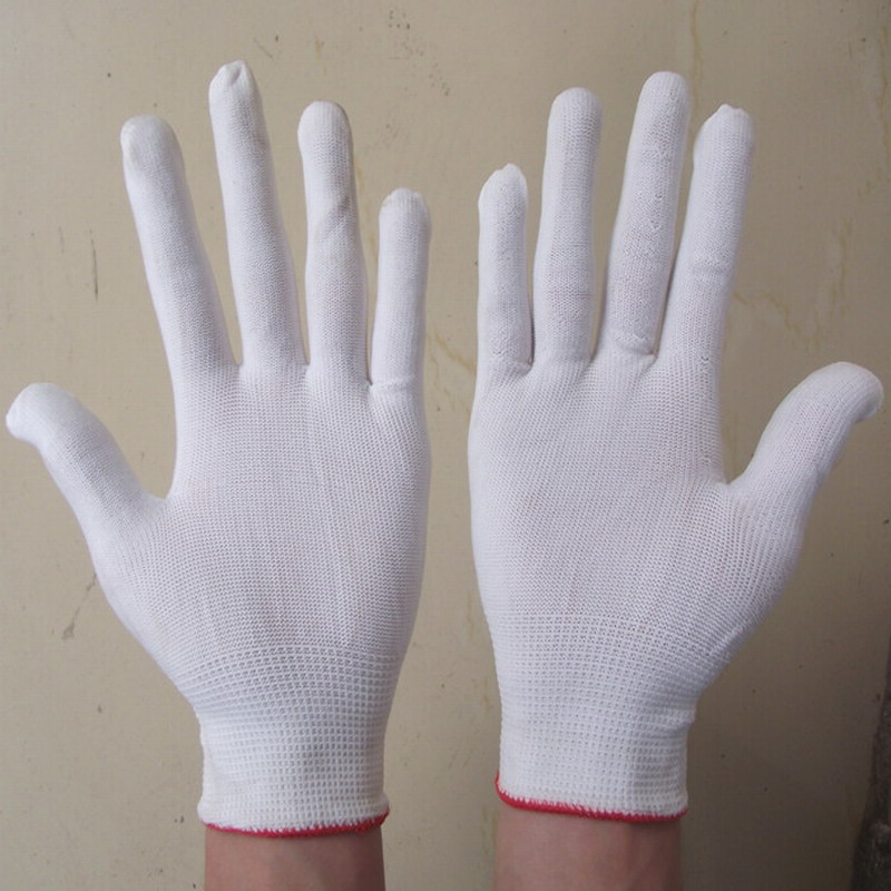 white nylon Knitted Gardening Glove Work Protection Gloves oil free comfortable cheap nitrile gloves white nylon knitted hands protection gloves white mechanic construction industry