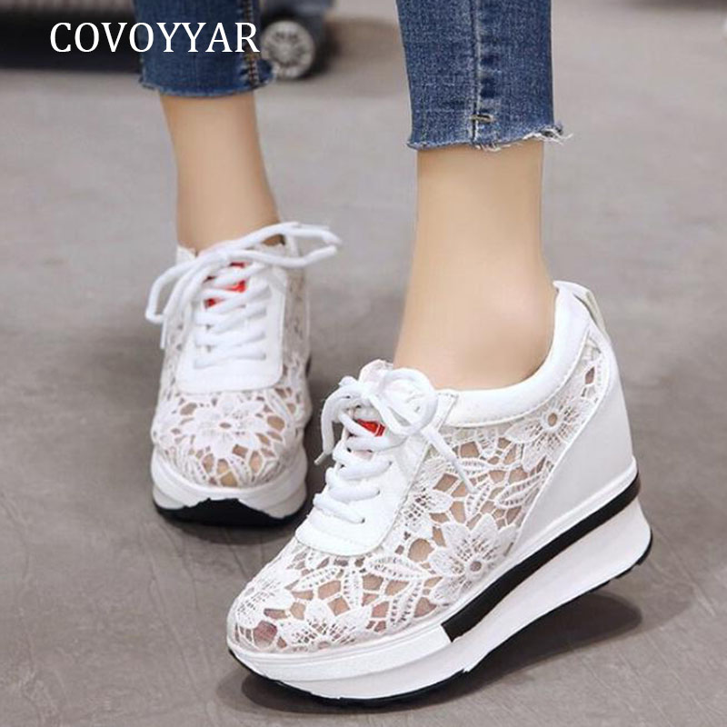 COVOYYAR Hidden High Heels Women Sneakers Breathable Mesh Wedges Platform Shoes Woman 2019 Summer Lace Up White Sneakers WSN266