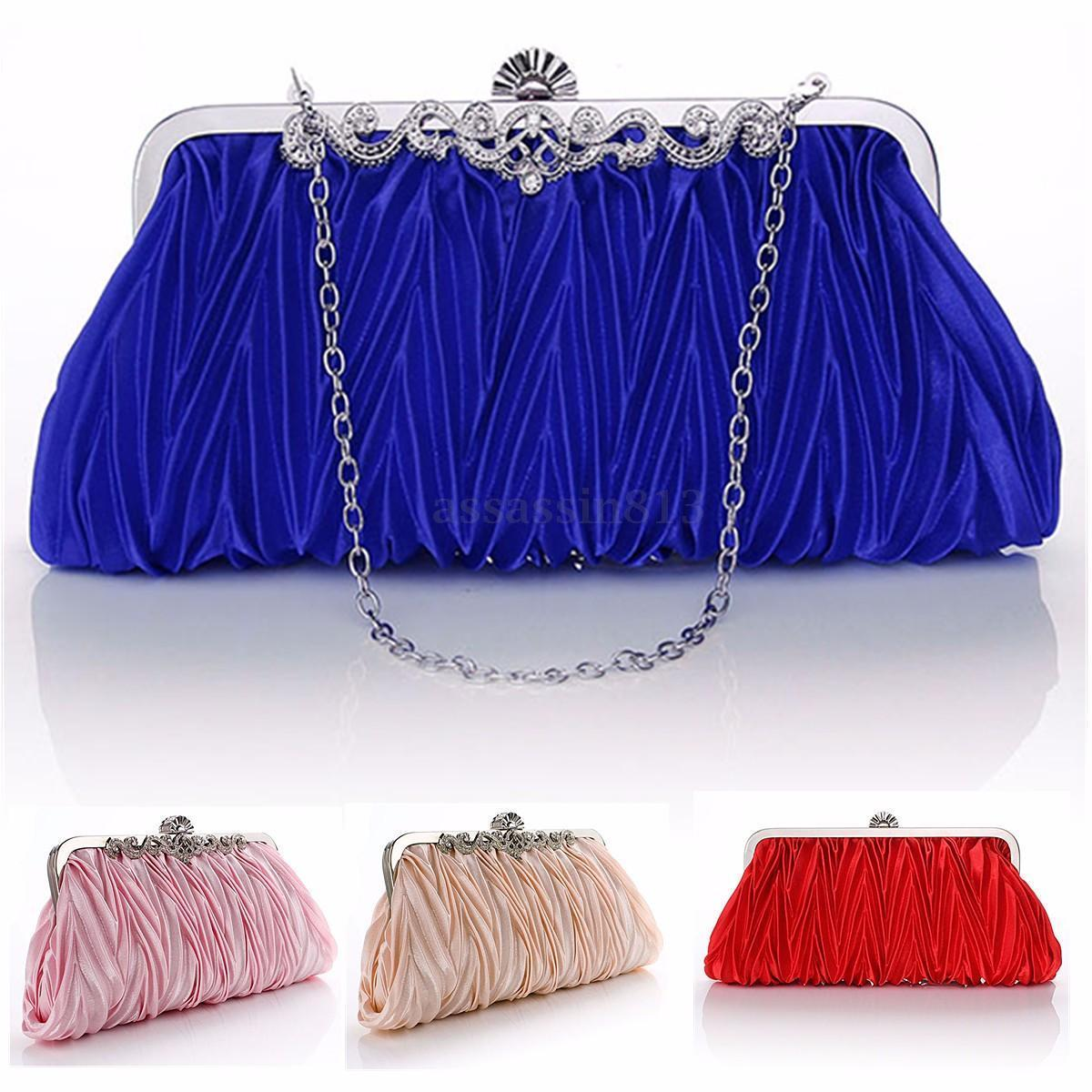 Fashion Lady Party Wedding Handbag Purse Girl Soft Evening Bag Bridal Women Satin Crystal Clutch