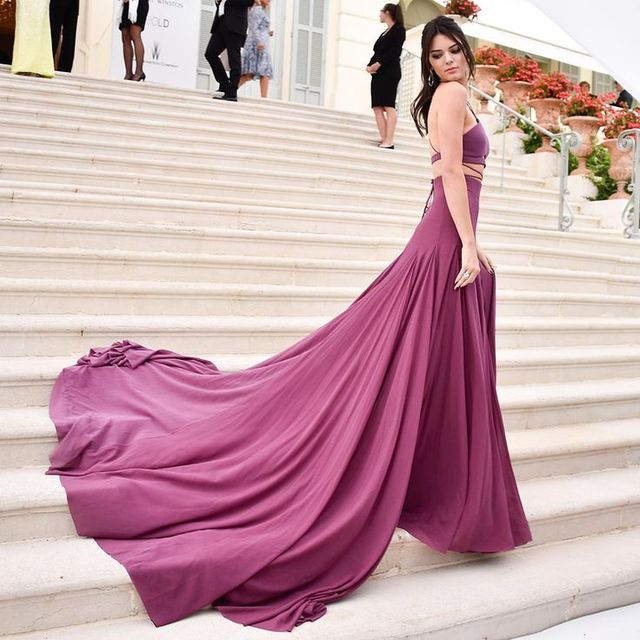 Imh149 E Marry Celebrity Dress 2017 Halter Y New Backless Purple Long Formal Evening