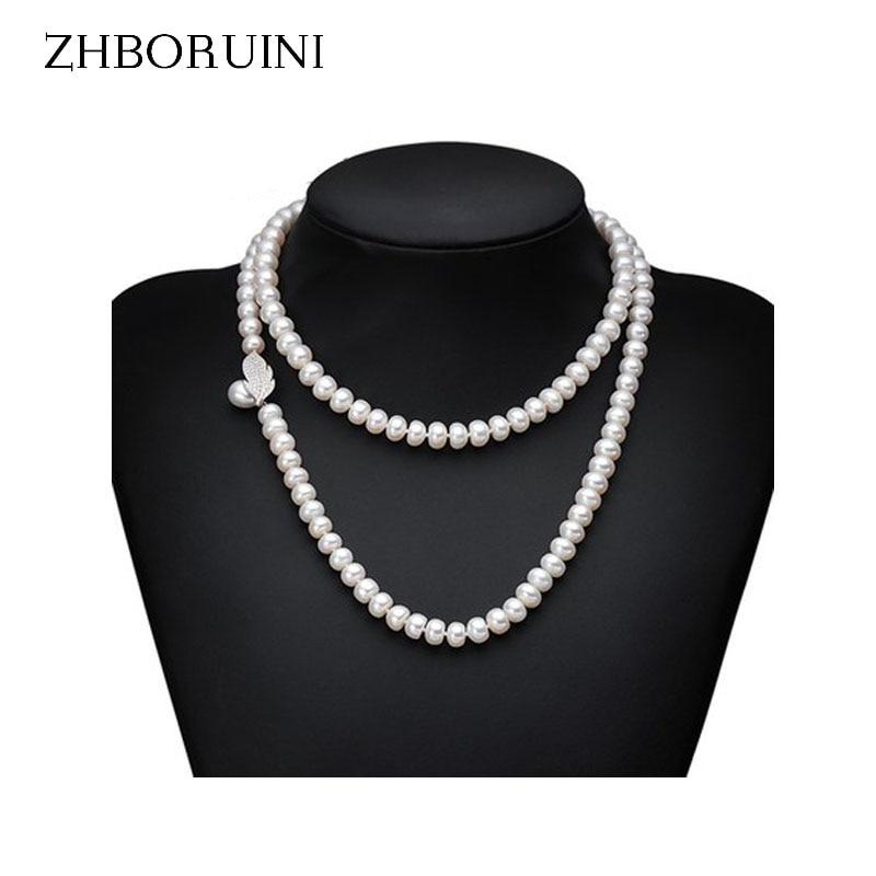 ZHBORUINI originální perlový náhrdelník přírodní sladkovodní perlový dlouhý náhrdelník 925 mincový stříbrný náhrdelník pro ženy dárek