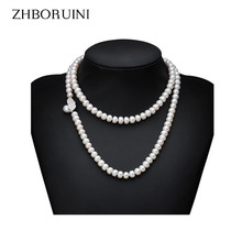 100% Genuine Fashion Pearl Necklace Natural Freshwater Pearl Long Necklace Charm Accessories Statement Necklace For Women Gift 100% genuine fashion pearl necklace natural freshwater pearl long necklace charm accessories statement necklace for women gift