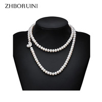 ZHBORUINI Genuine Pearl Necklace Natural Freshwater Pearl Long Necklace 925 Sterling Silver Statement Necklace For Women Gift
