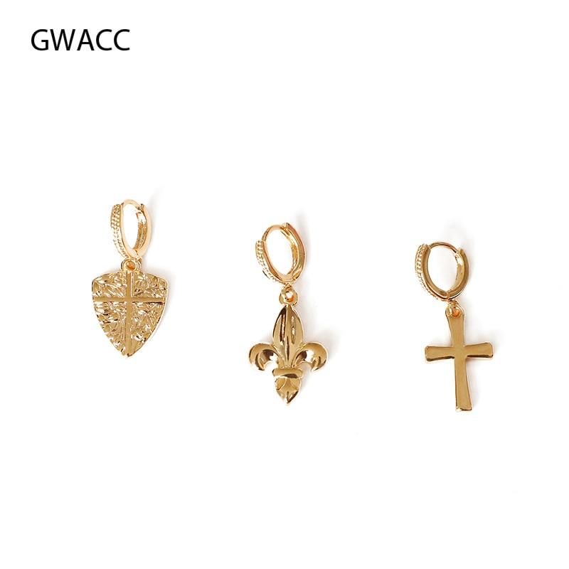 GWACC Baroque Vintage Drop Earrings For Women Girls Metal Brass Gold Color Cross Shield Iris Pattern Fashion Jewelry