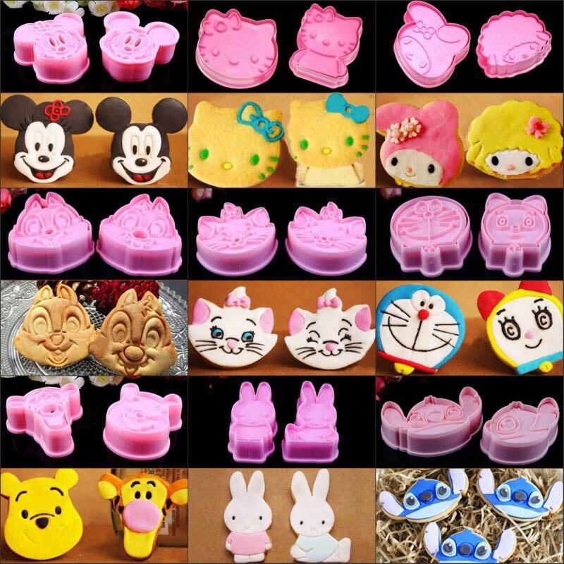 Hot Sale 2pcs Mickey Minnie Rabbit Winnie Fondant Cake Cookie Decorating Sugarcraft DIY Mold Plunger Cutter Baking Moulds