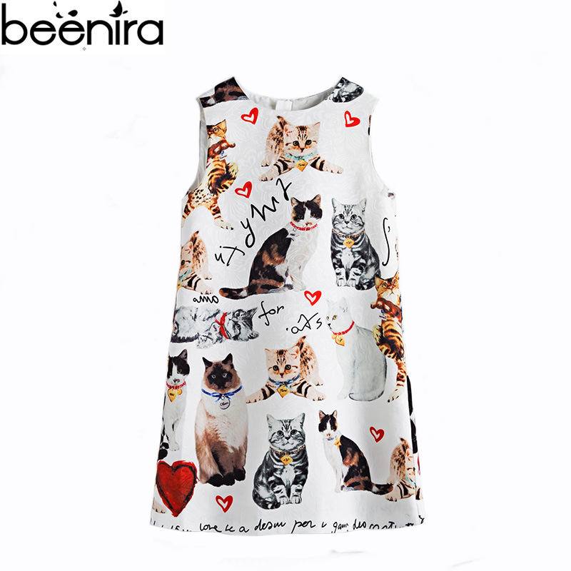 BEENIRA Summer Grils Cartoon Dress Party Party Dresses for Princess Brand Kids Kitty Print Vest Clothing High Quality