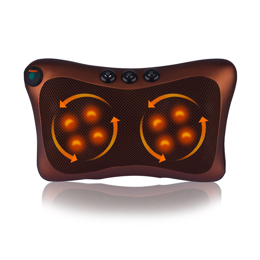 8 Massage Heads Electric Infrared Heating Shiatsu Massage Pillow Neck Shoulder Back Body Massager Body Relax Home Car Dual-use