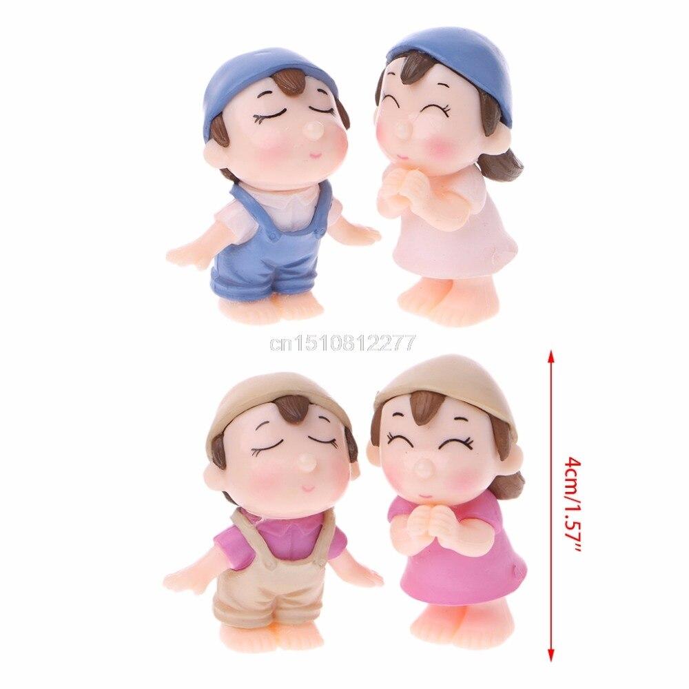 1Pair Miniature Lover Figures Bonsai Succulent Garden Smiling Couple Ornaments J04 dropshipping