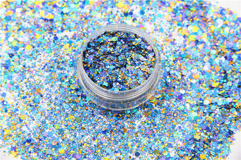 HA2104-263 Mixed Laser Holographic Colors Hexagon Shape Glitter Sequins for nail art gel and DIY Christmas decoration 3d 12 candy colors glass fragments shape nail art sequins decals diy beauty salon tip free shipping