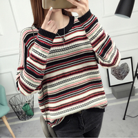 2017 Winter Color Stripe Sweater Female Head Loose T Shirt Sweater Korean Color Coat