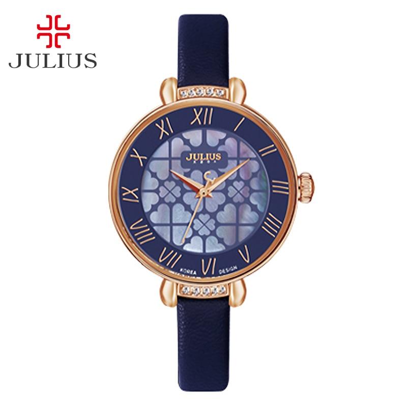 New Lady Woman Julius Wristwatch Quartz Shell Four leaf Clover Hours Best Fashion Dress Leather Bracelet