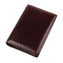Унисекс Винтажный кошелек из натуральной коровьей кожи Бизнес ID держатель для карт сумки RFID кошелек Тонкий чехол для карт R-8078