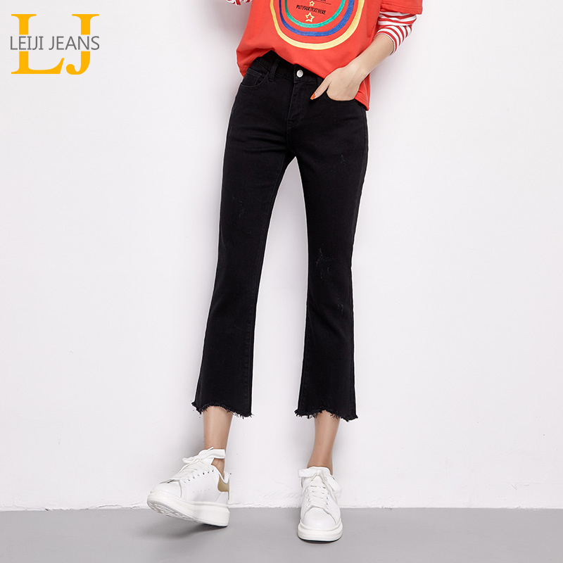 LEIJI   JEANS   2019 NEW ARRIVAL PLUS SIZE For Women With Mid Waist Tassel Ankle-length High Street Skinny Cotton Flare Pants 6254