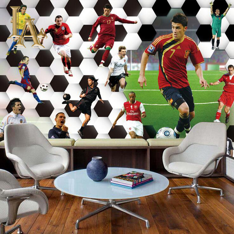 Customize Any Size 3D Football Athlete Bedroom TV Background Wall Paper Home Decor Living Room Non-woven Mural Wallpaper