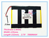 3 Line Polymer Lithium Ion Battery 28125152 3 7V 7000MAH With Plug For CH Tablet PC