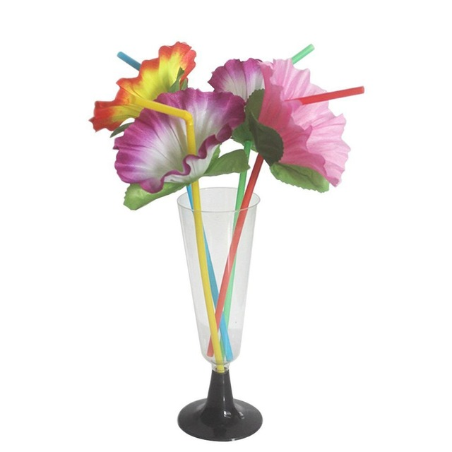 20pcs Lot Disposable Flower Straws Bendable Drinking Summer Hawaiian Luau Party Wedding Birthday Decorations Supplies