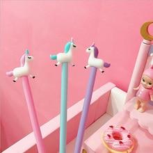 3 pcs/lot 0.5mm Cute jumping unicorn Gel Pen Promotional Gift Stationery School & Office Supply Kawai Neutral pen