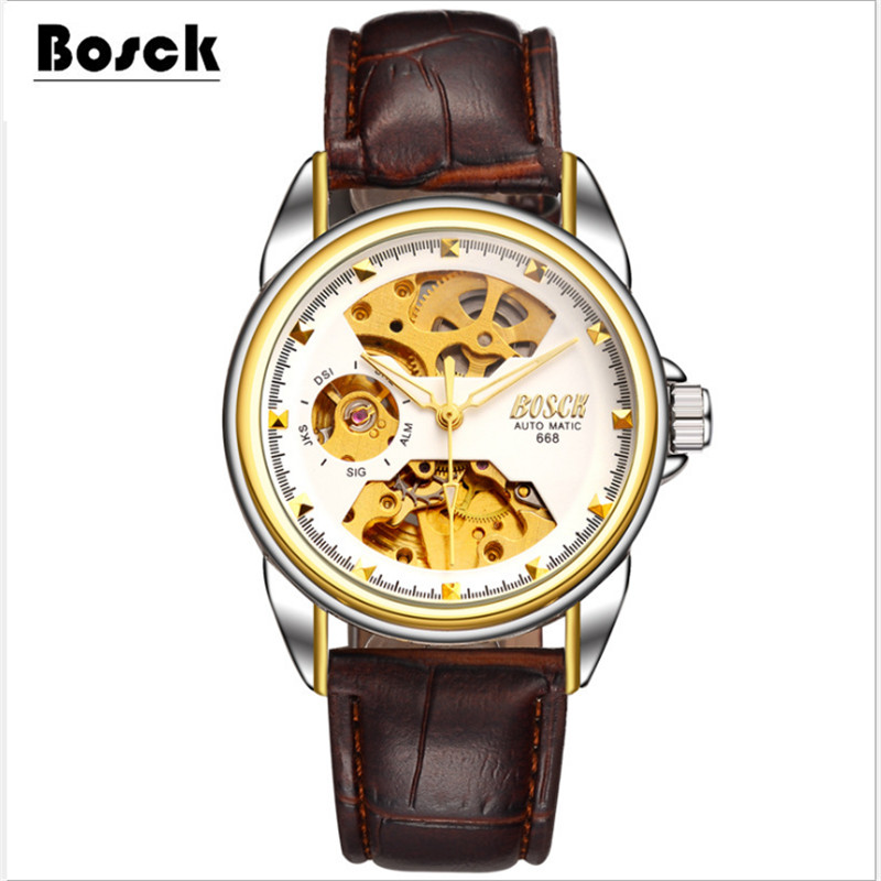 relogio masculino BOSCK men s high end luxury mechanical watches hollow water leisure business watches erkek