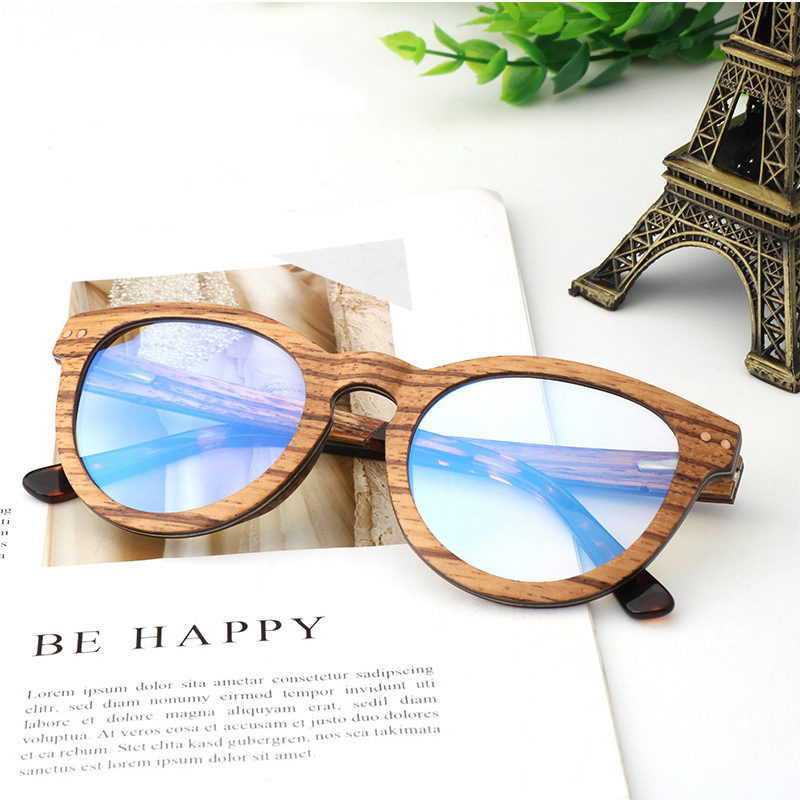 Handmade Zebra Wood Anti blue rays computer Glasses Men Blue Light Coating Gaming Glasses protection eye Retro Spectacles Women