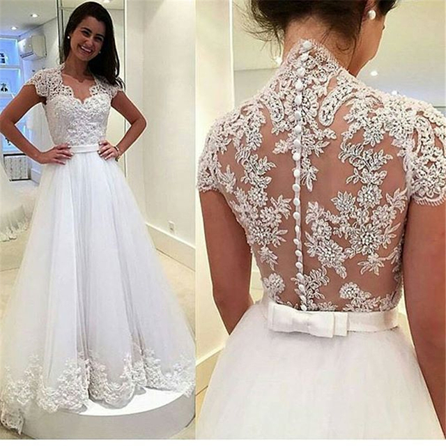 Vestidos De Novia Sheer Back Pearls Beading Lace Top Cap Sleeve A Line  Tulle Long Wedding Dress Cheap Bridal Dress 8b834fb39279