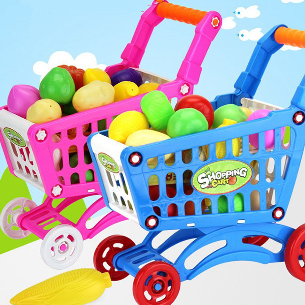 mini children supermarket plastic shopping cart with full grocery food playset toy for kids in. Black Bedroom Furniture Sets. Home Design Ideas