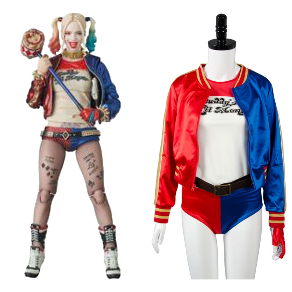 Batman DC Comics Suicide Squad Harley Quinn Cosplay Costume Halloween Carnival Adult Women Full Sets