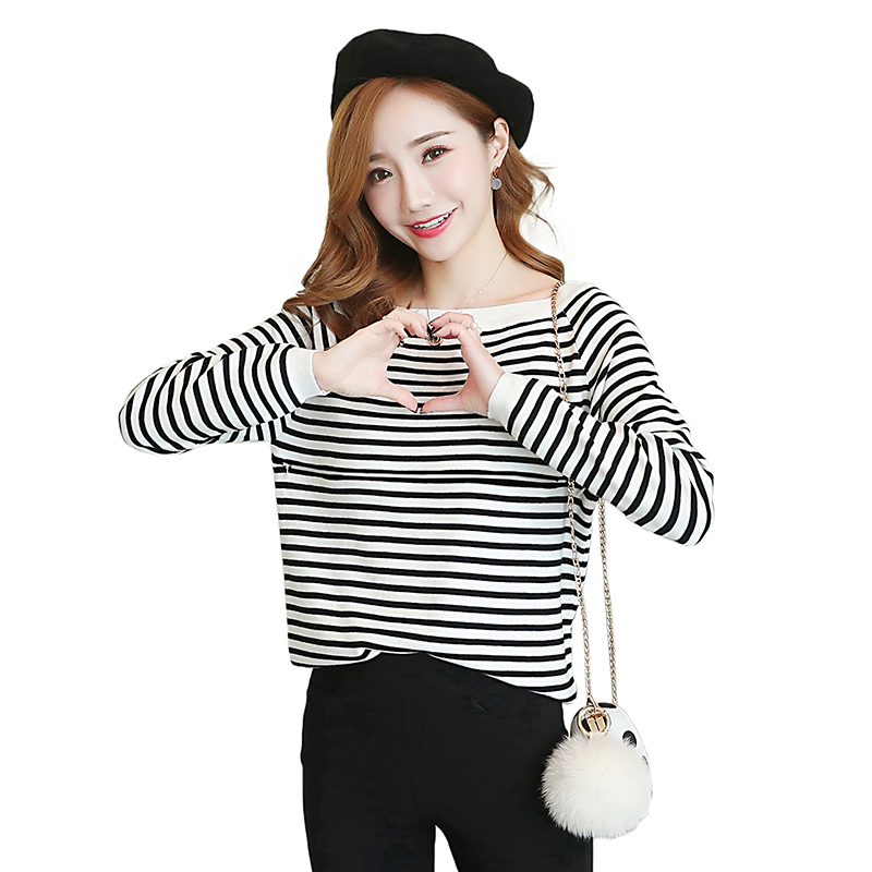 Pengpious 2018 maternity nursing clothes long-sleeved striped knitted lactation T-shirt sweater postpartum women breastfeeding