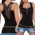 Women Bandage Tank Top Summer Black Sexy Lace Halter Top Fashion Sleeveless Camisole