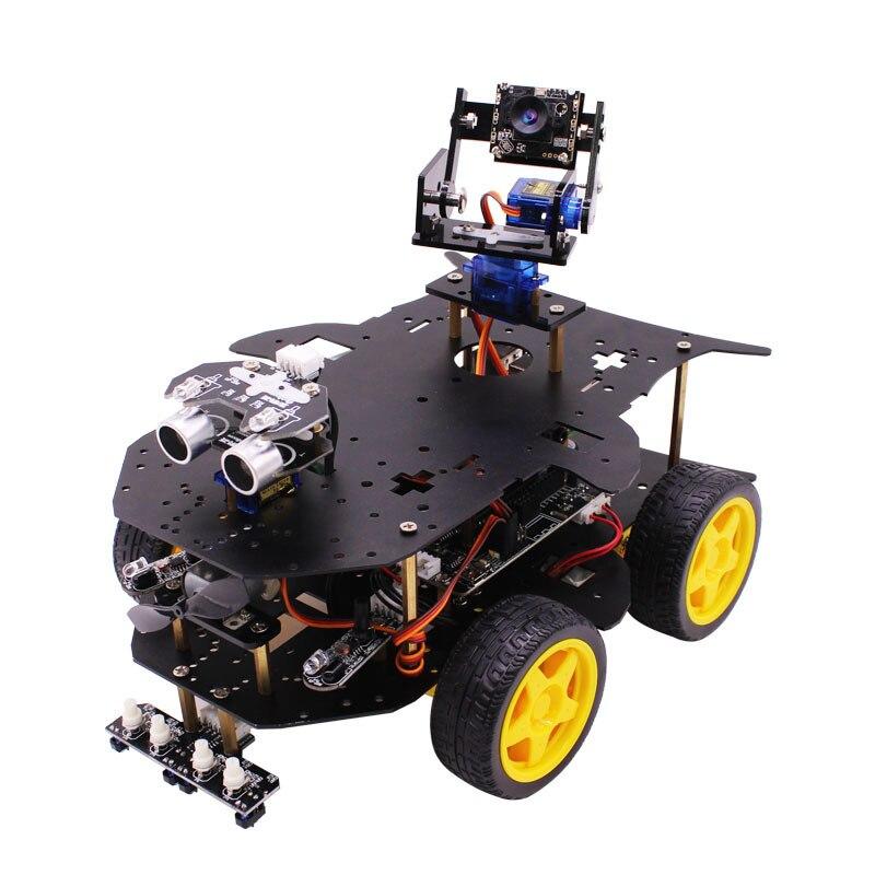 Voiture intelligente de voiture intelligente de robot RC de Yahboom 4WD avec la caméra de WIFI pour la framboise Pi 3B +-in Voitures télécommandées from Jeux et loisirs    1