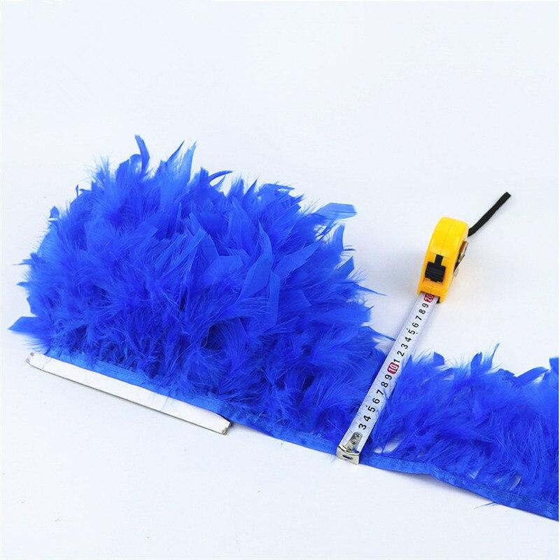 Nuevo 10 metros de plumas de pavo bellas y esponjosas franja de cinta - Artes, artesanía y costura - foto 3