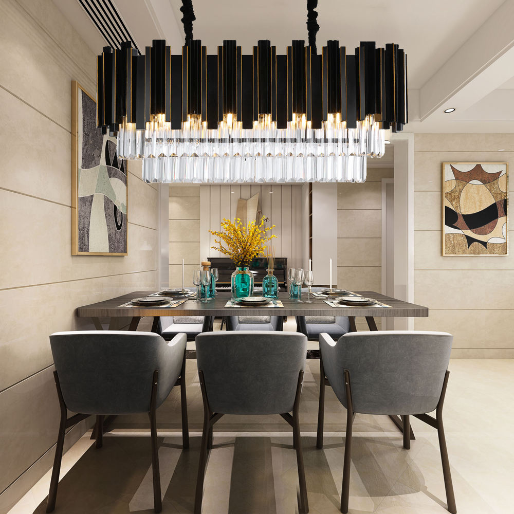 Luxury Modern Rectangle Crystal Chandelier Black Dining Room Hanging AC110-240V Lighting Fixtures LED Lustres De Cristal