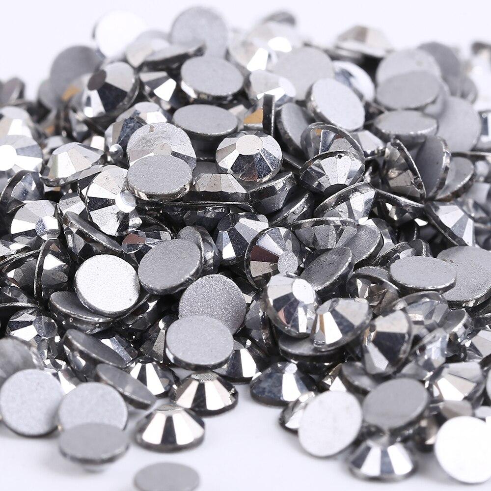 Серебристый Гематит, 3D дизайн ногтей ss3 ss4 ss5 ss6 ss8 ss10 ss12 ss16 ss20 ss30 ss34 стекло/Кристальные ногти, Стразы без горячей фиксации