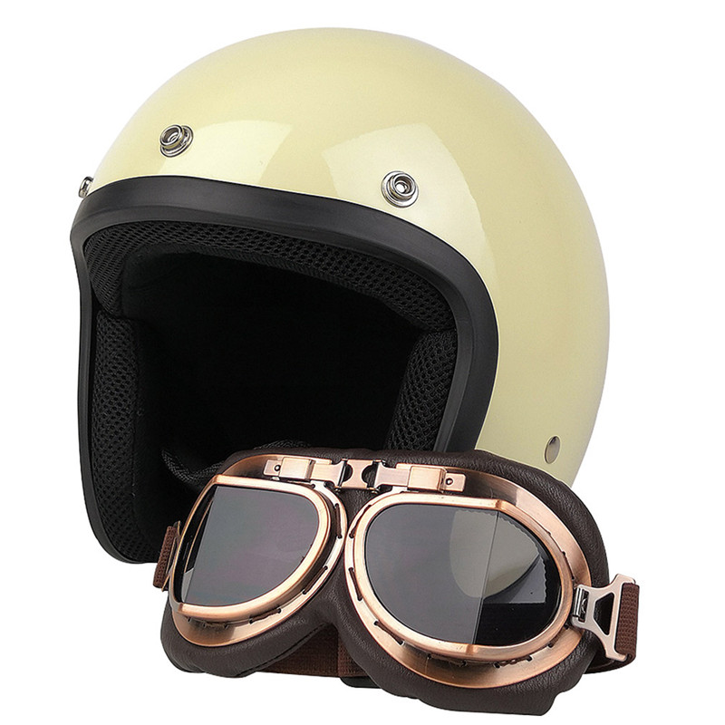 VCOROS vintage motorcycle helmet 3/4 open face moto casco retro style S M L XL XXL size DOT ECE harley scooter jet pilot helmets цена