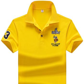 YIHUAHOO marka Polo koszula mężczyźni wysokiej jakości mężczyźni poliester krótki rękaw letnia koszula marki koszulki Polo Hombre rozmiar M-4XL JCP-733 tanie i dobre opinie Na co dzień REGULAR Przycisk Stałe Anty-pilling M L XL 2XL 3XL 4XL Dark Blue Yellow White Red Sky Blue Orange Summer