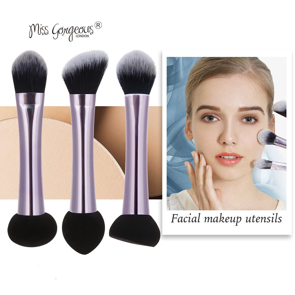 Miss Gorgeous Dual End Makeup Brushes Cosmetics Powder Puff Concealer Blush Liquid Foundation Face Make up Brush Set Beauty Tool