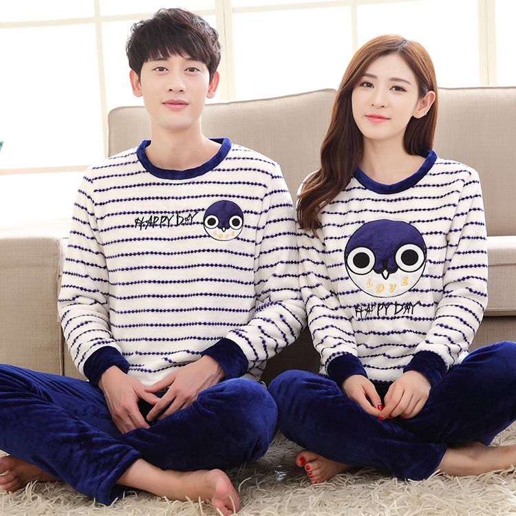 Couples Matching Pajamas Men and Women Family Matching Pyjamas Winter Coral  Fleece Girlfriends Clothes Female Thickened Flannel-in Pajama Sets from ... 3e97f8a13