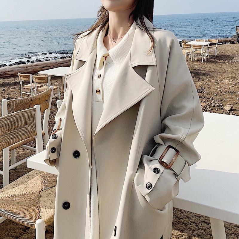 2019 New Arrival Classic Basics Beige Lapel Windbreaker Woman Spring Autumn Fashion Belted Waist Long   Trench   Coat Overcoat X870