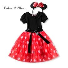 купить 2019 Summer Baby Girl Dress Kids Mickey Minnie Mouses Cosplay Costume With Headband Birthday Party Kids Dresses Clothing Vestido дешево