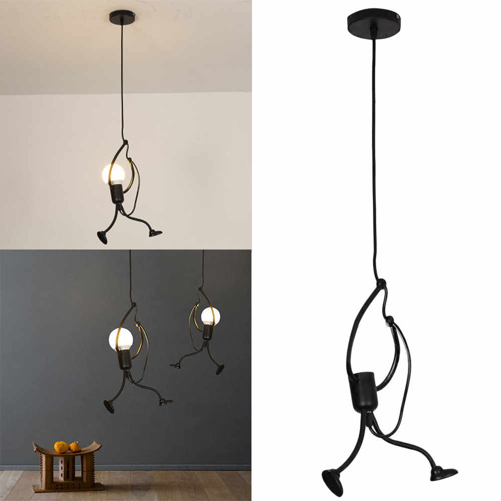 Modern Charming Hanging Chandelier Creative Iron People Lamp Elegant Hanger Luminaire Adjustable Height 220-240V 2019