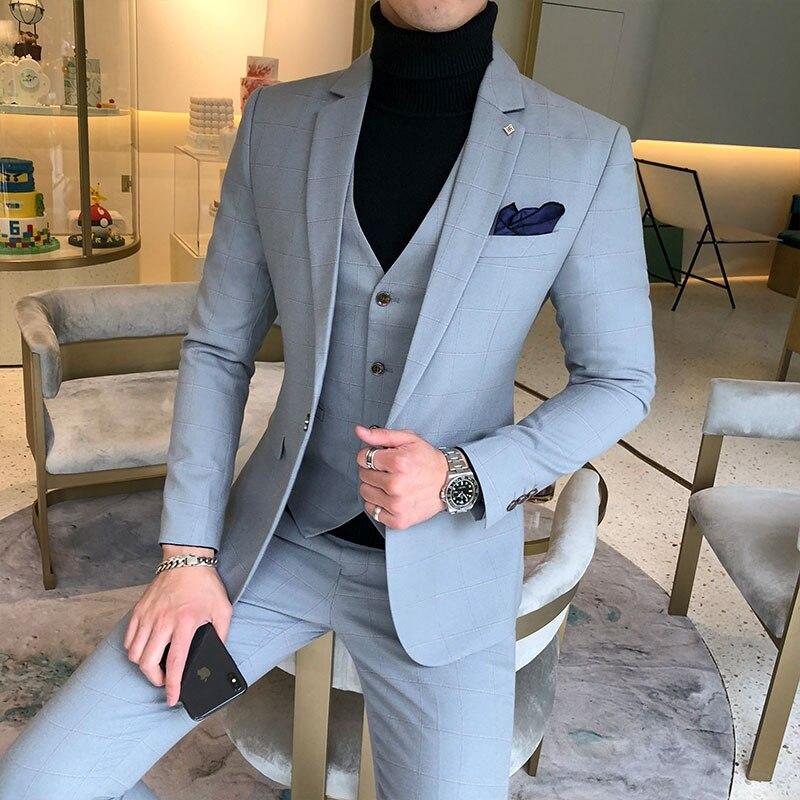 Костюмы из 3 предметов, пиджак + брюки + жилет, свадебные костюмы для мужчин, синяя клетчатая официальная одежда, костюмы, новые мужские тонкие костюмы жениха, размер XS 5XL