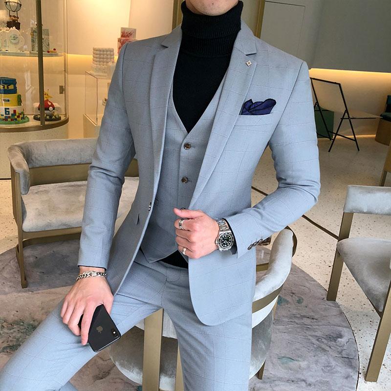 Trajes de 3 piezas chaquetas + Pantalones + chaleco vestido de novia trajes para hombres azul a cuadros trajes de desgaste Formal nuevos hombres Slim Groom trajes tamaño XS-5XL